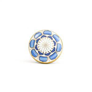 Round Blue Lotus Pod Knob