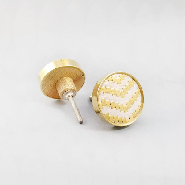 White and gold basket weave knob 0 600x600 - White and Gold Basket Weave Knob