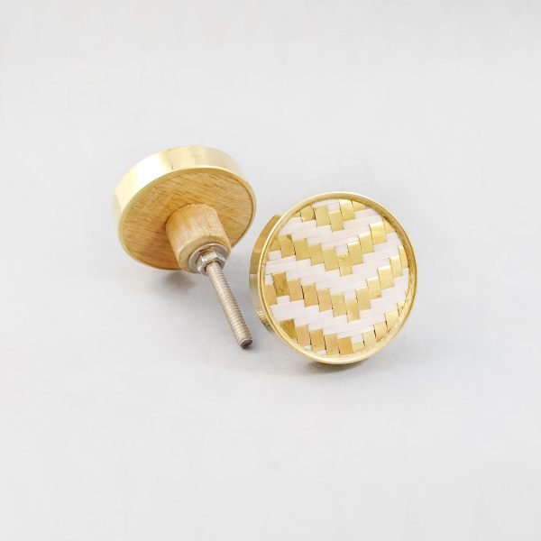 White and gold basket weave knob 11 600x600 - White and Gold Basket Weave Knob
