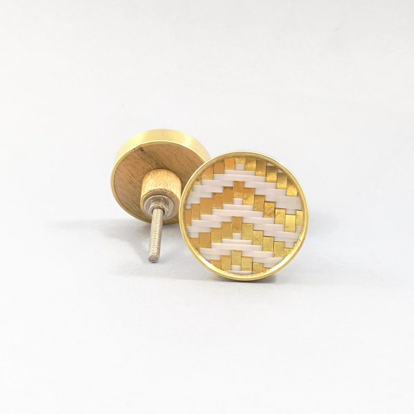 White and gold basket weave knob 2 600x600 - White and Gold Basket Weave Knob