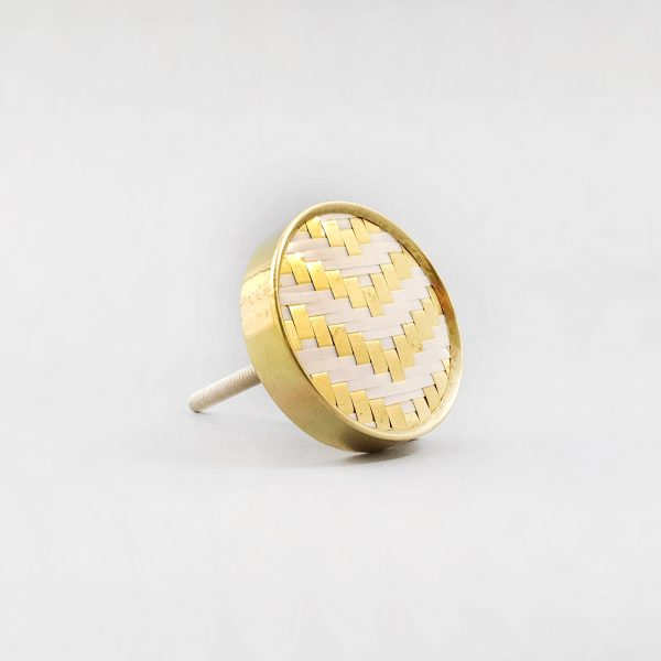 White and Gold Basket Weave Knob