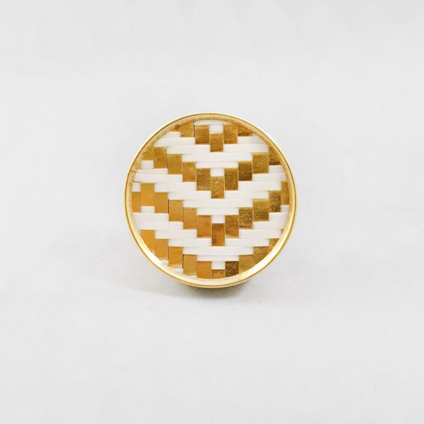 White and gold basket weave knob 4 600x600 - White and Gold Basket Weave Knob