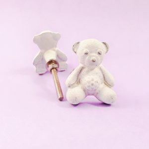 White iron teddy knob 2 300x300 - White Teddy Bear Knob