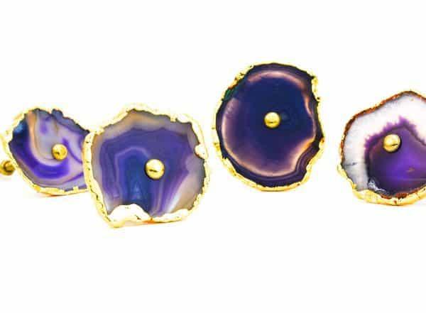 DSC 0176 Purple agate knob 600x441 - Purple, Taupe, Cream Sliced Agate Knob
