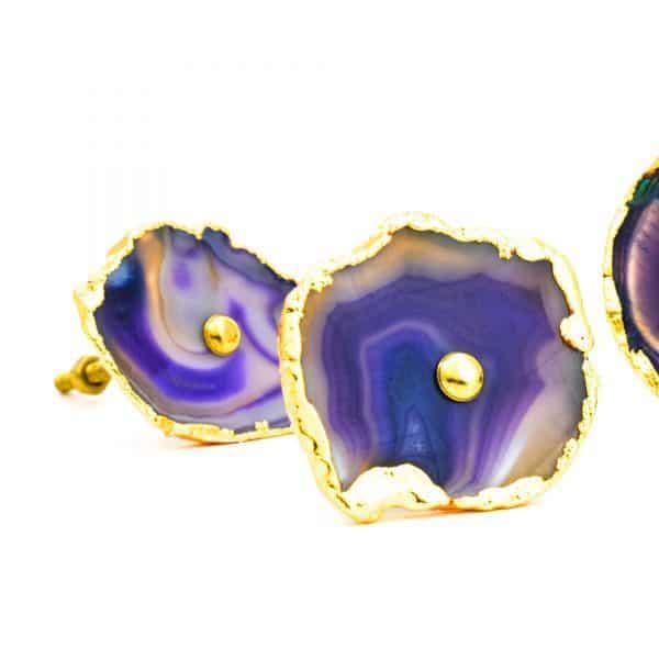 DSC 0177 Purple agate knob 600x600 - Purple, Taupe, Cream Sliced Agate Knob