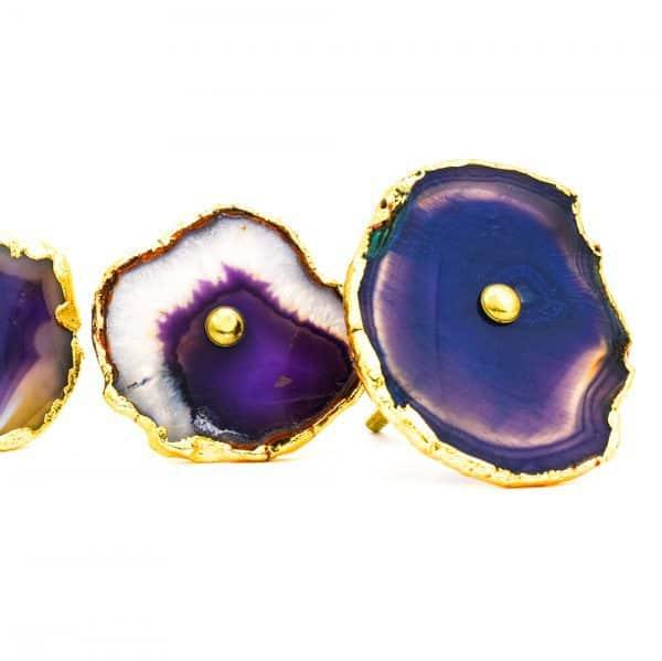 DSC 0178 Purple agate knob 600x599 - Purple, Taupe, Cream Sliced Agate Knob
