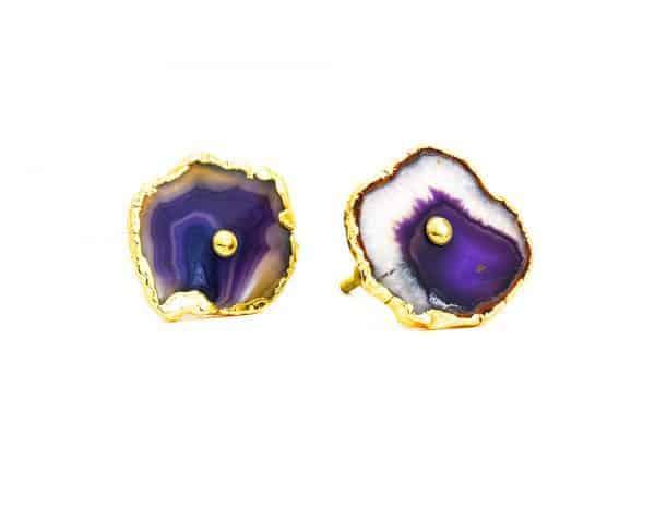 DSC 0181 Purple agate knob 600x465 - Purple, Taupe, Cream Sliced Agate Knob