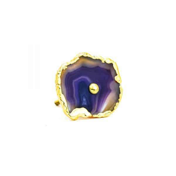 DSC 0182 Purple agate knob 600x600 - Purple, Taupe, Cream Sliced Agate Knob