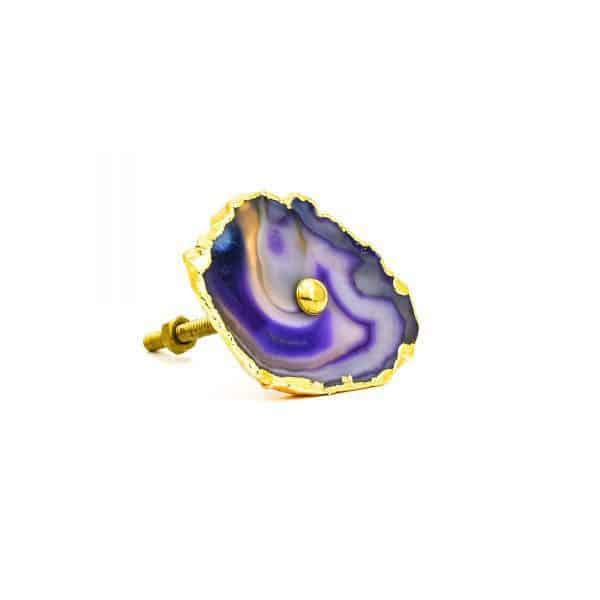 DSC 0183 Purple agate knob 600x600 - Purple, Taupe, Cream Sliced Agate Knob