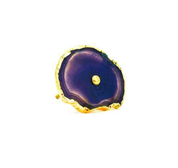DSC 0184 Purple agate knob 600x565 - Purple, Taupe, Cream Sliced Agate Knob