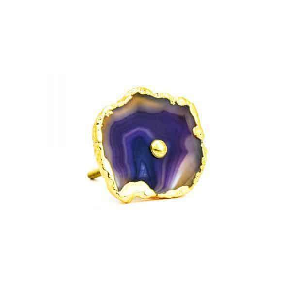 DSC 0186 Purple agate knob 600x600 - Purple, Taupe, Cream Sliced Agate Knob