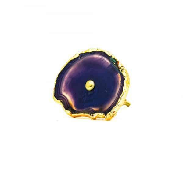 DSC 0187 Purple agate knob 600x575 - Purple, Taupe, Cream Sliced Agate Knob