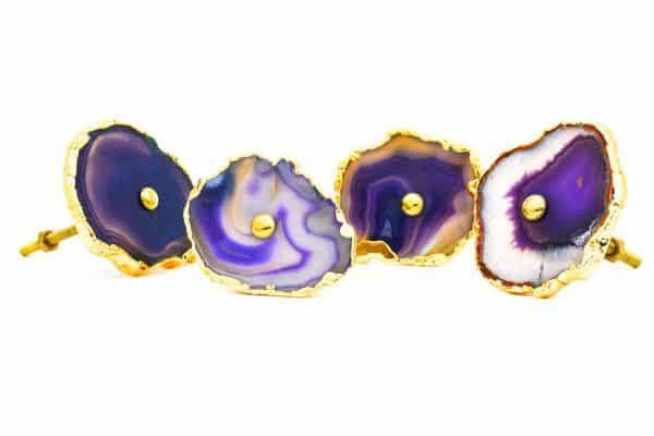 DSC 0188 Purple agate knob 600x400 - Purple, Taupe, Cream Sliced Agate Knob