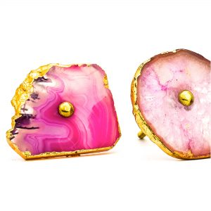 Pink, Cream and Mauve Sliced Agate Knob