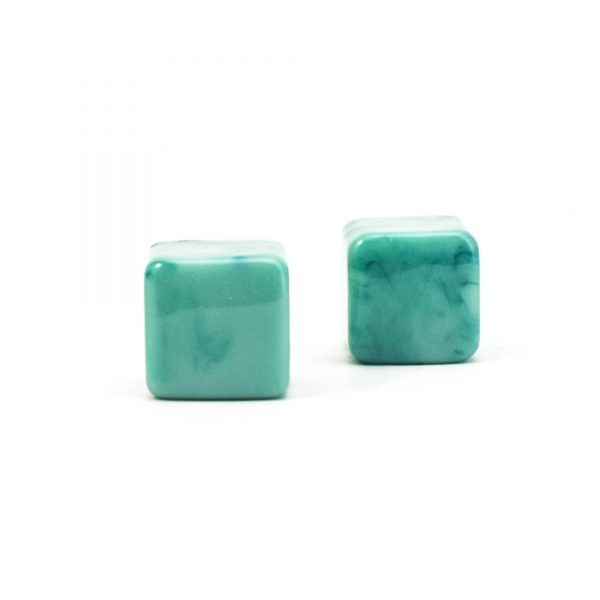 DSC 0279 Square Green resin pull 600x600 - Turquoise Cubed Knob