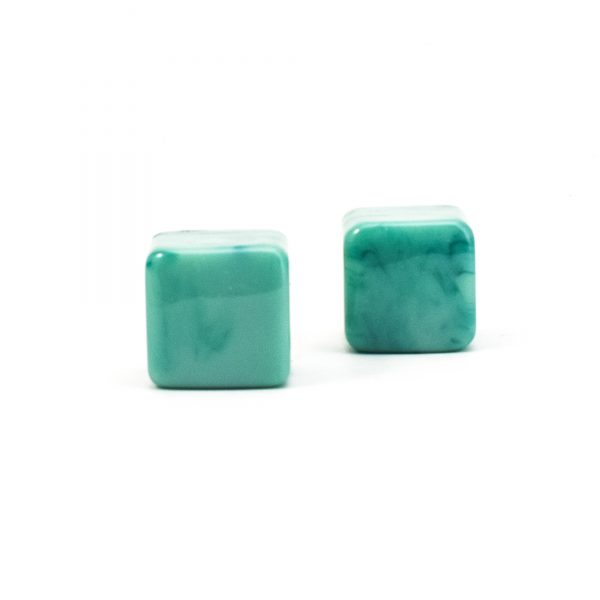 DSC 0280 Square Green resin pull 600x600 - Turquoise Cubed Knob