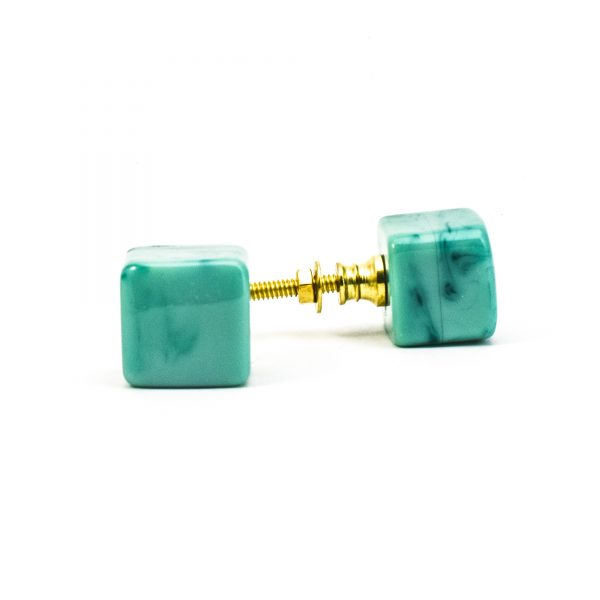DSC 0281 Square Green resin pull 600x600 - Turquoise Cubed Knob