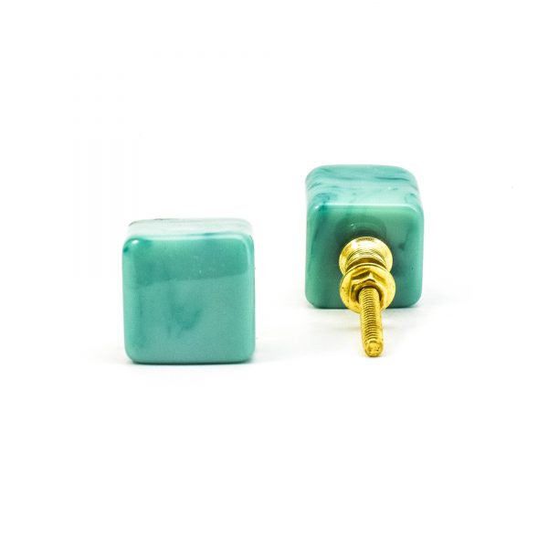 DSC 0282 Square Green resin pull 600x600 - Turquoise Cubed Knob