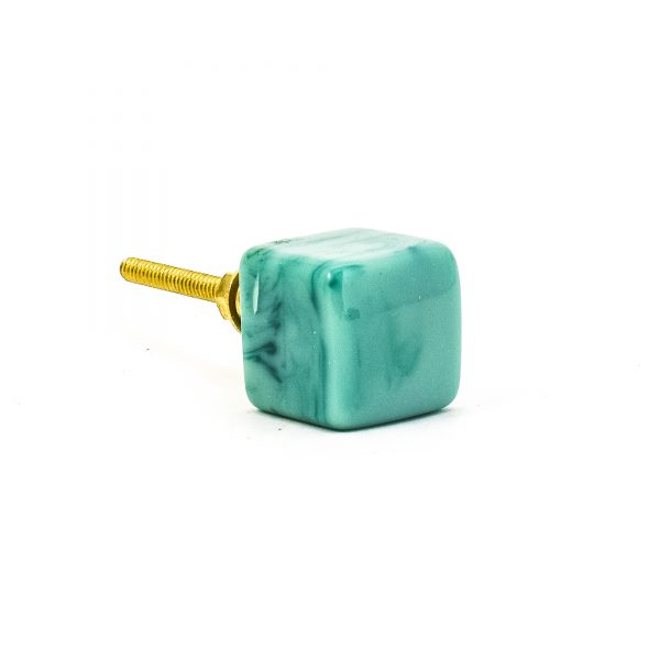 DSC 0284 Square Green resin pull 600x600 - Turquoise Cubed Knob
