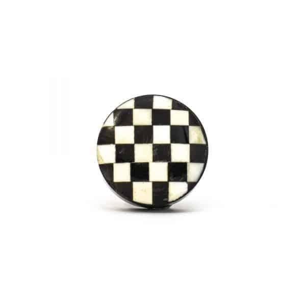 DSC 0307 Black and white checkered knob 600x600 - Black and White Checkered Knob