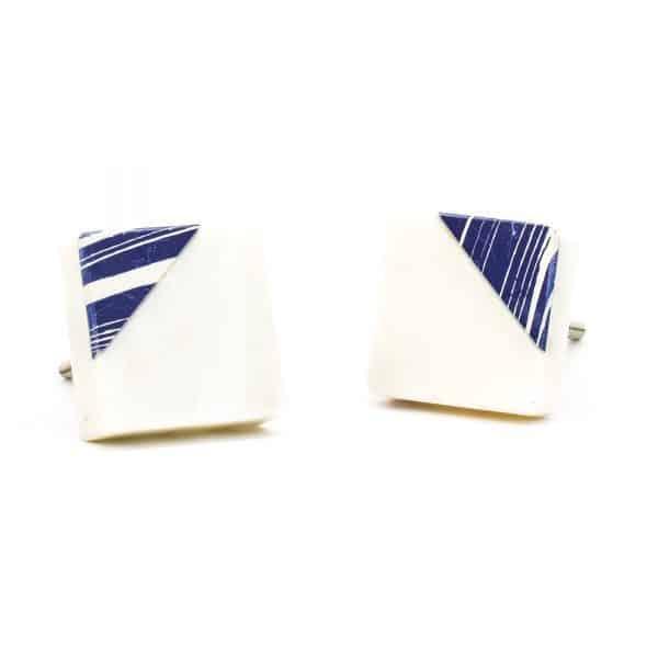 DSC 0312 Square marble with blue square diagonal knob 600x600 - Square Classic Blue Striped Marble Knob