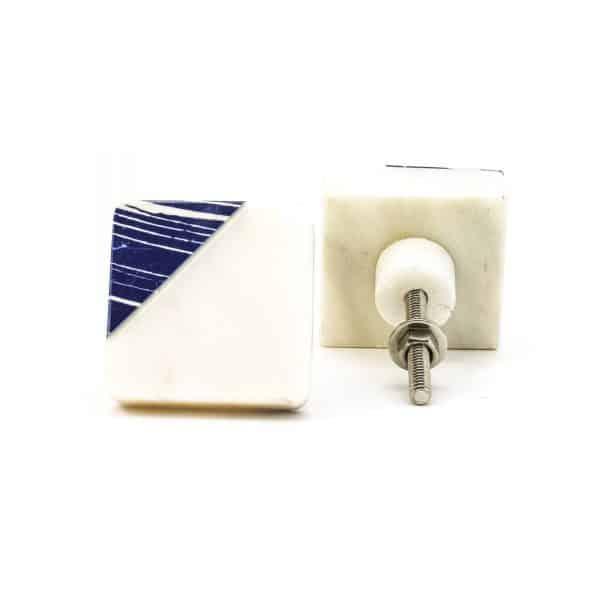 DSC 0315 Square marble with blue square diagonal knob 600x600 - Square Classic Blue Striped Marble Knob