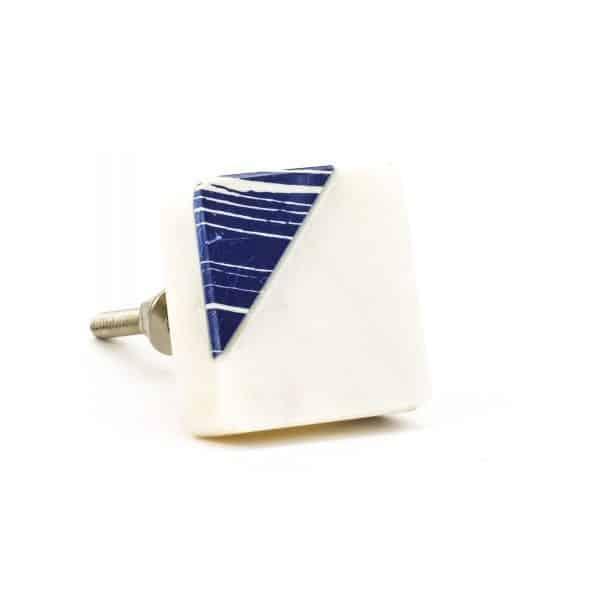 DSC 0317 Square marble with blue square diagonal knob 600x600 - Square Classic Blue Striped Marble Knob