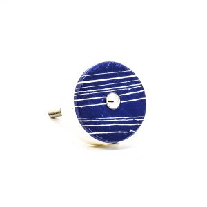 DSC 0324 Round marble with blue stripes knob 300x300 - Round Classic Blue Striped Marble Knob