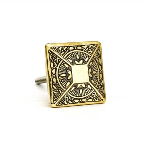 Gold Square Etched Knob