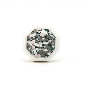 DSC 0375 Hexagon marble and grey terrazo knob 300x300 - Octagon Marble and Resin Terrazzo Knob