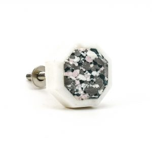 DSC 0376 Hexagon marble and grey terrazo knob 300x300 - Octagon Marble and Resin Terrazzo Knob