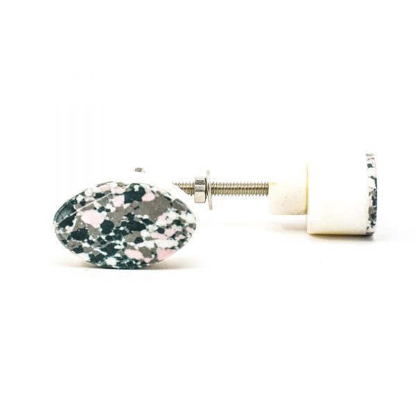 DSC 0382 Oval marble and grey terrazo knob 600x600 - Oval Marble and Resin Terrazzo Knob