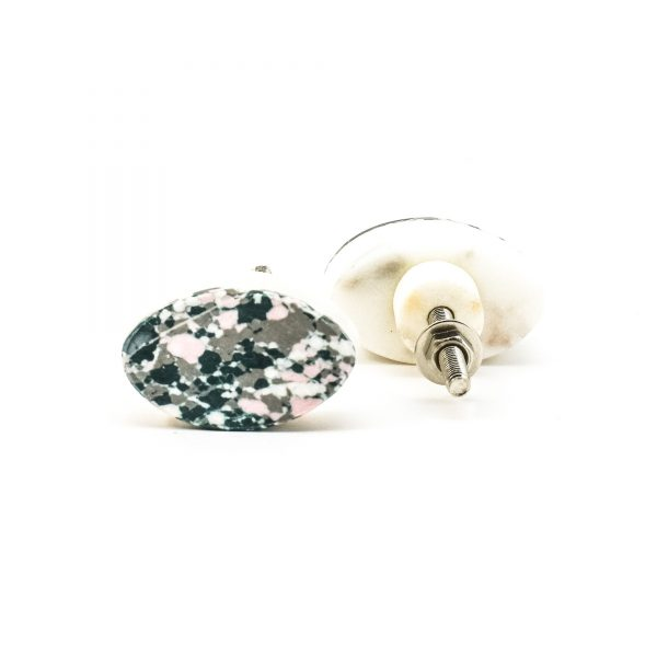 DSC 0383 Oval marble and grey terrazo knob 600x600 - Oval Marble and Resin Terrazzo Knob