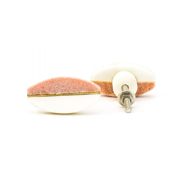 DSC 0452 oval white and pink split marble knob 600x600 - Rose Pink Oval Brass Centred Marble Knob