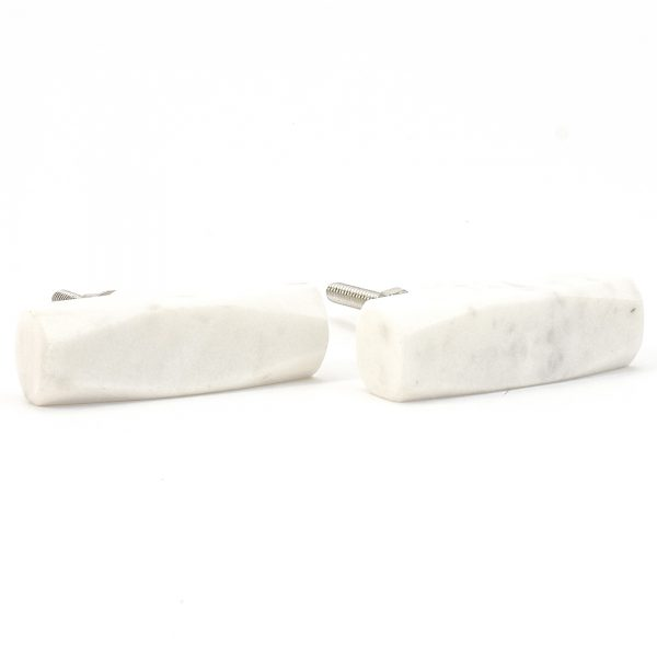 White Wedged Marble Pull