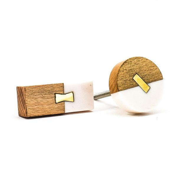DSC 0579 Rectangle split wood and white marble pull 600x600 - Round Resin and Wood Duo Knob