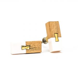 DSC 0581 Rectangle split wood and white marble pull 300x300 - Rectangle Resin and Wood Duo Knob