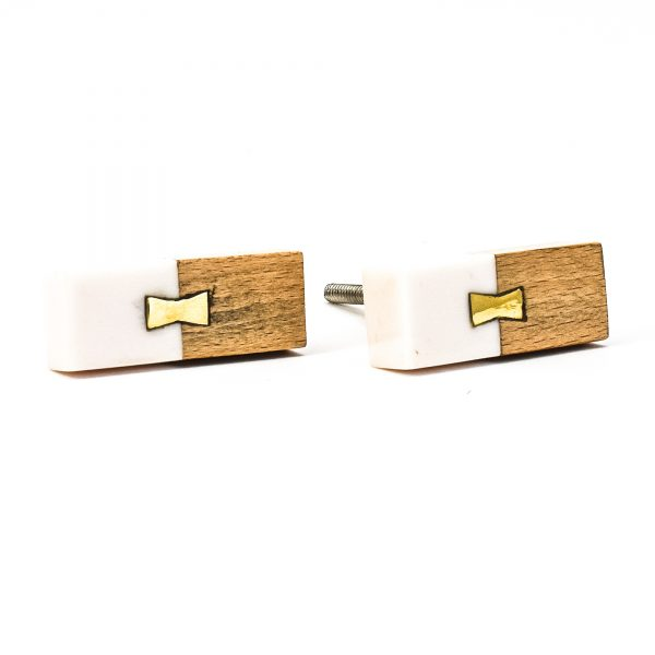 DSC 0582 Rectangle split wood and white marble pull 600x600 - Rectangle Resin and Wood Duo Knob