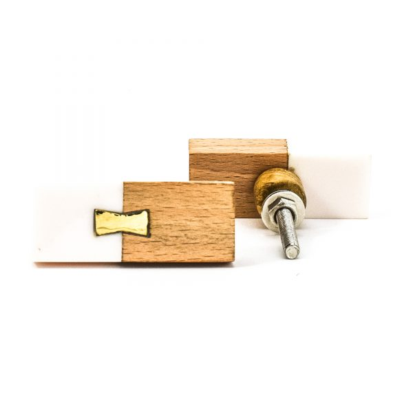 DSC 0583 Rectangle split wood and white marble pull 600x600 - Rectangle Resin and Wood Duo Knob