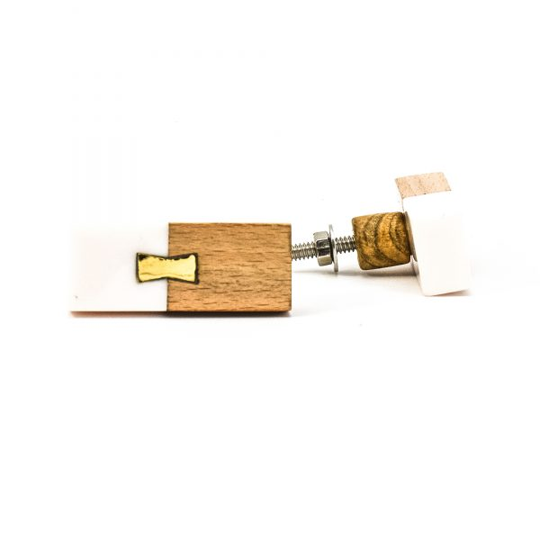 DSC 0584 Rectangle split wood and white marble pull 600x600 - Rectangle Resin and Wood Duo Knob