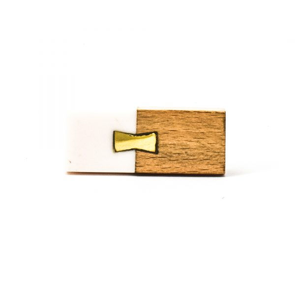 DSC 0585 Rectangle split wood and white marble pull 600x600 - Rectangle Resin and Wood Duo Knob