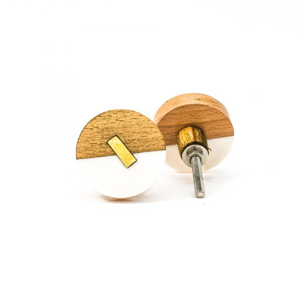 DSC 0593 Round split wood and white marble knob 600x600 - Round Resin and Wood Duo Knob