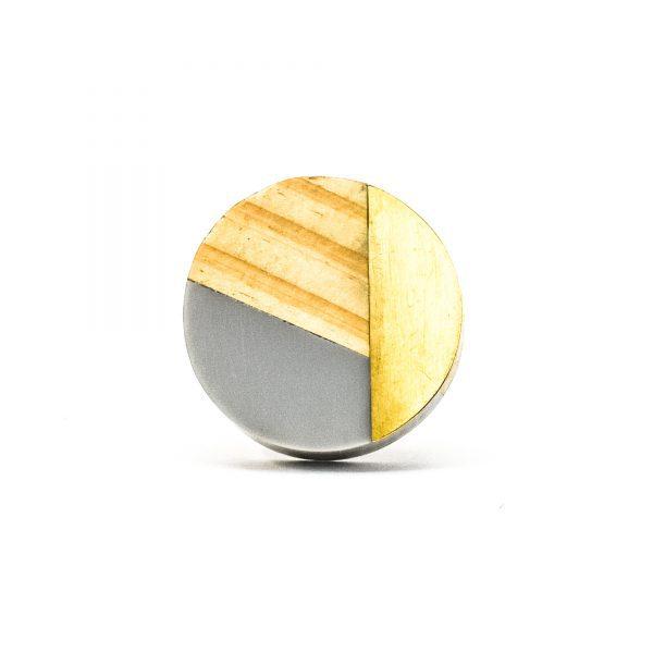 DSC 0601 Grey resin wood and bras trio knob 600x600 - Round Grey Trio Knob