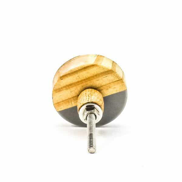 DSC 0604 Grey resin wood and bras trio knob 600x600 - Round Grey Trio Knob