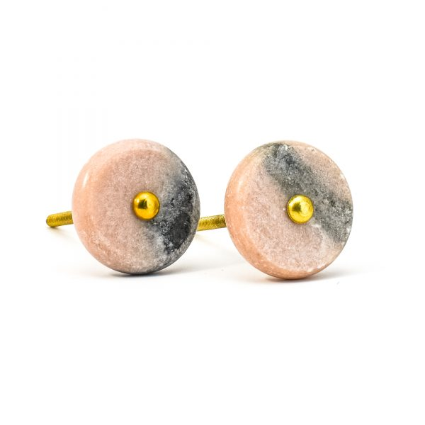 DSC 0605 thin swirled pink and grey marble and brass knob 600x600 - Grey and Pink Marble and Brass Knob