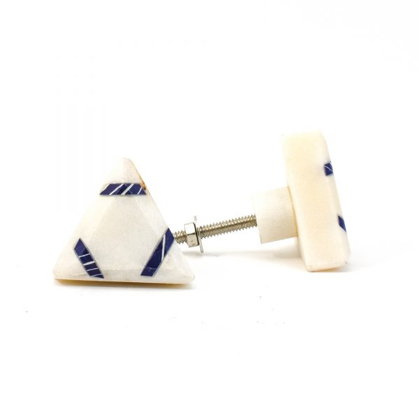 Triangle Classic Blue Striped Marble Knob