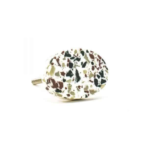 DSC 0676 Oval green speckle terazzo  600x600 - Oval Resin Terrazzo Knob