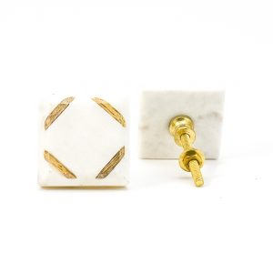 Wood Cornered White Marble Knob