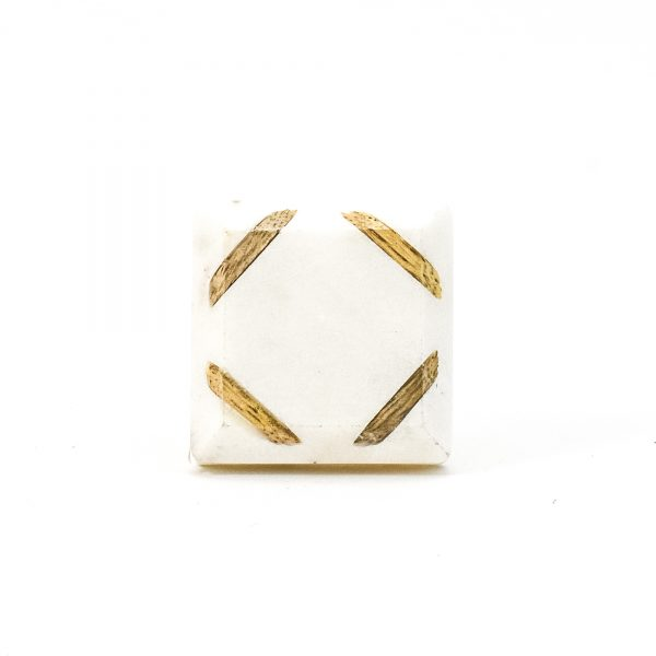Wood Cornered White Marble Knob