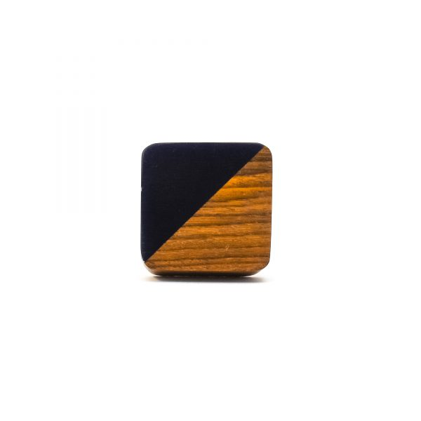 Wood and Midnight Blue Resin Knob